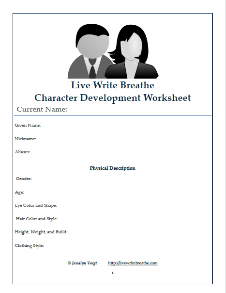 Live Write Breathe Character Development Worksheet Sample